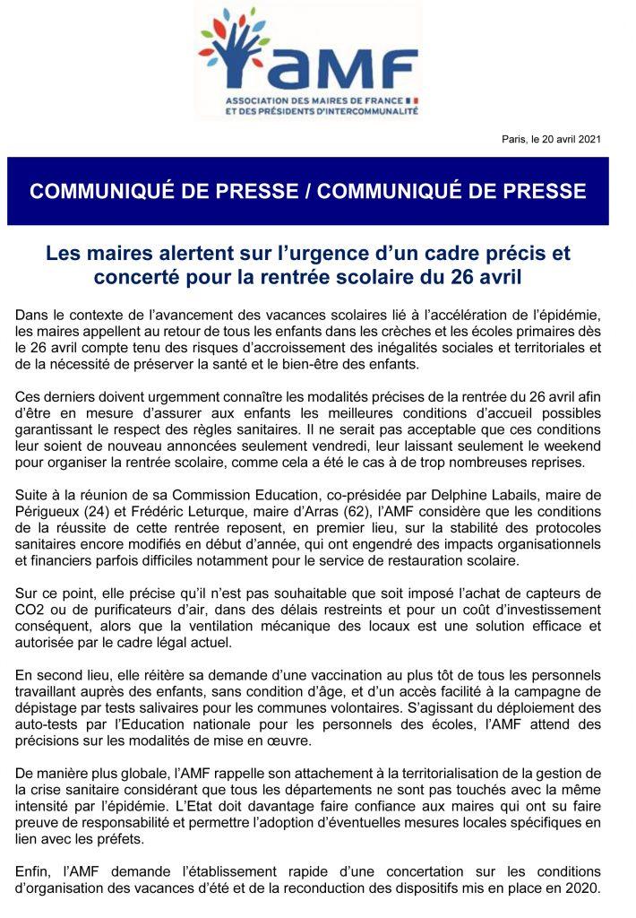 CP_Les maires alertent sur l'urgence d'un cadre précis et concerté pour la rentrée scolaire du 26 avril